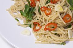 Spaghetti czosnek, gorący pieprz, oliwa z oliwek, spaghetti aglio, olio, Zdjęcia Stock