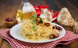 Spaghetti czosnku olej i chili pieprz Zdjęcia Stock
