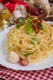 Spaghetti czosnku olej i chili pieprz Obraz Stock