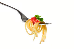 spaghetti d'isolement de pâtes Photo libre de droits