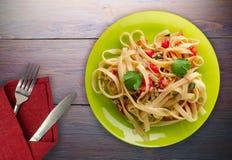 Spaghetti d'un plat Photos libres de droits