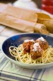 Spaghetti de boulettes de viande Photo libre de droits