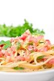spaghetti de carbonara traditionnels Images libres de droits