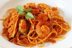 Spaghetti de fruits de mer de Spicey Photo stock