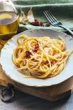 Spaghetti de la plaque blanche Photographie stock libre de droits