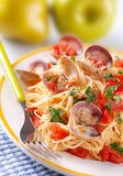 spaghetti de palourdes images stock