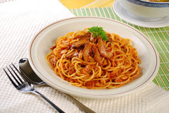 Spaghetti de poulet Photo libre de droits