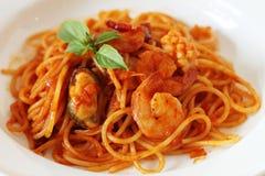 Spaghetti dei frutti di mare di Spicey Fotografia Stock