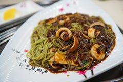 Spaghetti del fagiolo nero Immagine Stock Libera da Diritti