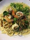 Spaghetti del gamberetto Immagine Stock Libera da Diritti