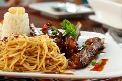 Spaghetti del manzo Immagini Stock