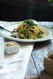 Spaghetti del pisello e degli spinaci Immagine Stock Libera da Diritti