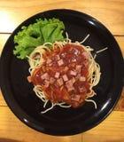 Spaghetti della salsa ketchup Immagine Stock