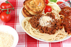 Spaghetti dinner with meatballs, sauce and salad. Stock Photo