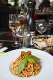 Spaghetti in a dish in a French restaurant. Paris. Spaghetti in a dish in a French restaurant Royalty Free Stock Photos