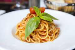 Spaghetti in a dish in a French restaurant. Paris. Restorant Stock Photo