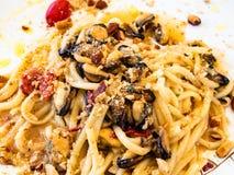 Spaghetti dish seafood stock image