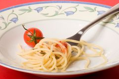 Spaghetti dish with tomato - pasta Stock Photo