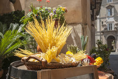Spaghetti display outside restaurant. Royalty Free Stock Photography