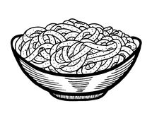 Spaghetti doodle, hand drawing. Spaghetti doodle at bowl, hand drawing vector illustration