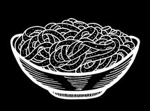 Spaghetti doodle, hand drawing. Spaghetti doodle at bowl, hand drawing royalty free illustration