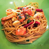 Spaghetti. The drunken noodles seafood spaghetti Royalty Free Stock Image