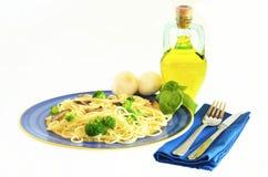 Spaghetti e broccolo Fotografia Stock Libera da Diritti