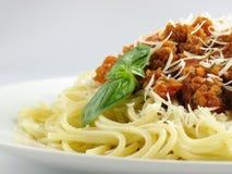 Spaghetti e salsa Immagini Stock