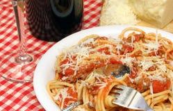 Spaghetti e salsa Fotografia Stock