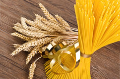 Spaghetti and ears of corn Royalty Free Stock Photo