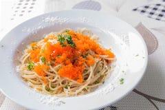Spaghetti Ebiko. On white dish Stock Photos