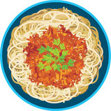 Spaghetti in een plaat stock illustratie