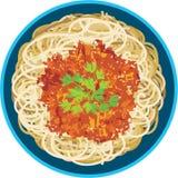 Spaghetti in een plaat Stock Foto's