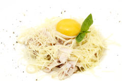 Spaghetti with egg Stock Images