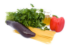 Spaghetti,Eggplant,Pepper,Parsley And Oil Stock Images