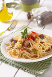 Spaghetti with eggplant and peppers Royalty Free Stock Images