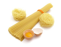 Spaghetti and eggs 2. Still life of egg pasta, spaghetti and egg  on white background, with clipping path, shadow not included Royalty Free Stock Photography