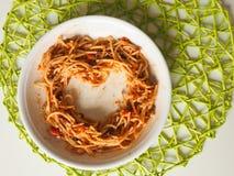 Spaghetti en forme de coeur Bolonais Images libres de droits