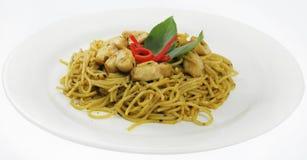 Spaghetti en kip Royalty-vrije Stock Foto