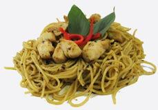 Spaghetti en kip royalty-vrije stock foto's