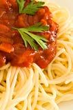Spaghetti en tomatensaus Stock Afbeelding
