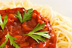 Spaghetti en tomatensaus Stock Foto