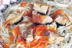 Spaghetti en vlees Achtergrond van voedsel royalty-vrije stock afbeelding