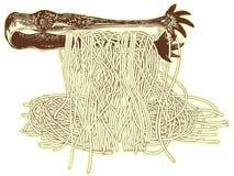 Spaghetti en vork Royalty-vrije Stock Fotografie