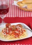 Spaghetti et boulettes de viande image stock