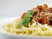 Spaghetti et sauce images stock