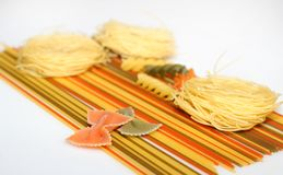 Spaghetti, farfalle and capellini Stock Image