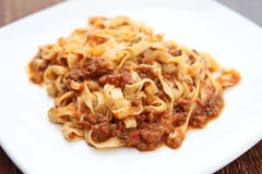 Spaghetti fettuccine with beef  sauce Stock Photo