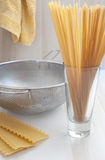 Spaghetti, fettuccine en lasagna's Stock Afbeeldingen