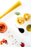 Spaghetti and fettucini with fresh ingredients Stock Photo
